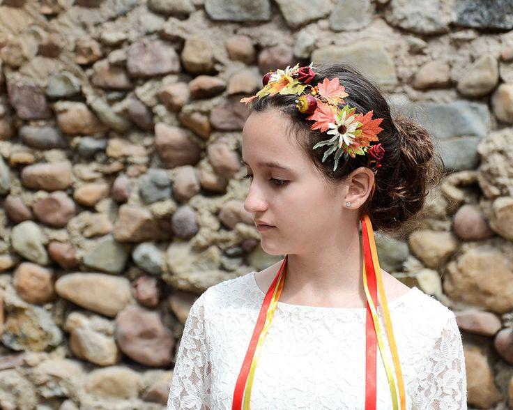 Autumn headband, Woodland crown floral Wedding Fairy tiara Flower girl circlet Romantic hair halo Floral Autumn Fall headband flower crown