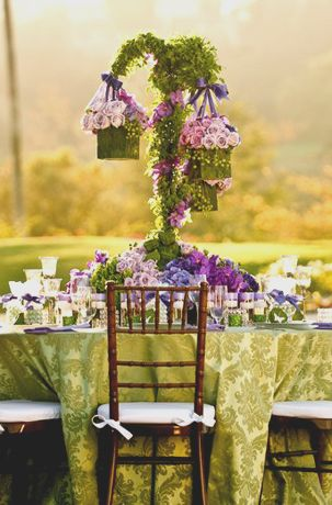 Cover shepherd's hooks in moss!Floral Centerpieces, Ideas, Sweets Tables, Food Tables, Floral Design, Gardens Theme, Gardens Wedding, Purple Gardens, Purple Flower