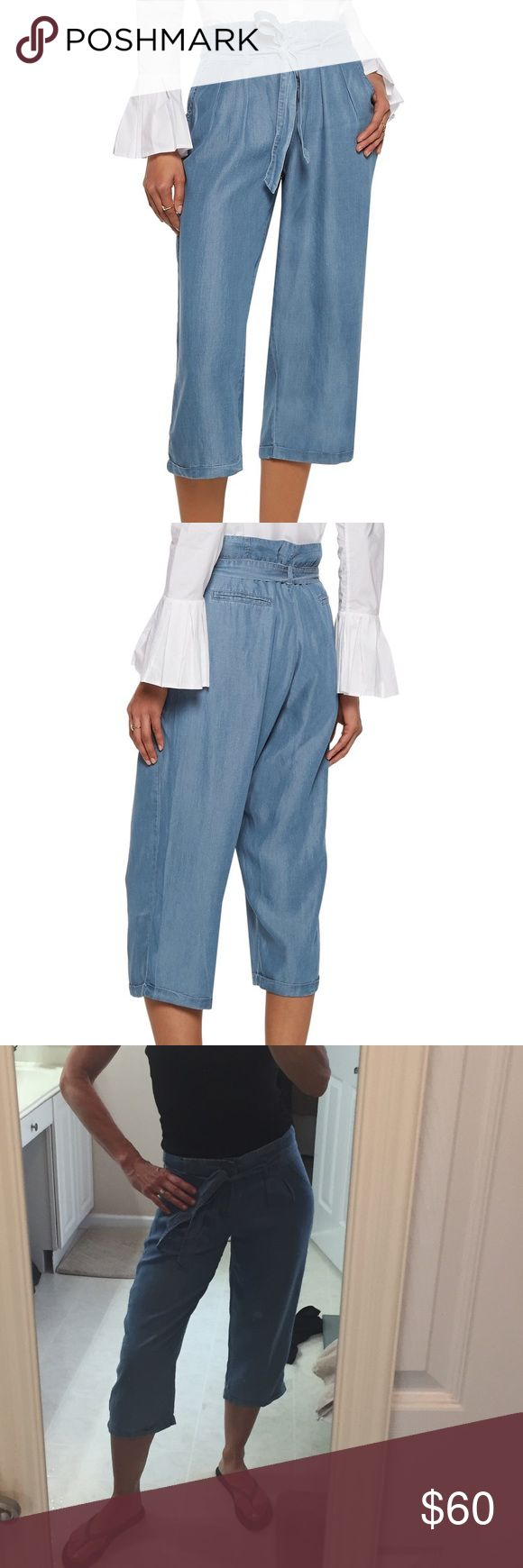 "Camilla washed-chambray culottes NO TRADES - 🎉30% OFF 2 OR MORE ITEMS🎉Walter Baker blue Camilla culottes Washed-chambray Belt loops, detachable belt, two front slant pockets, two back welt pockets Concealed hook and zip fastening at front 100% Lyocell Machine wash or dry clean Fits true to size, take your normal size High-rise, cut for a wide-leg fit Cropped length Lightweight, non-stretchy fabric Model is 5'9"" and is wearing a size Small Walter Baker Pants Ankle & Cropped"