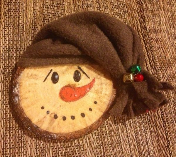 Wood slice, Snowman ornament by pam