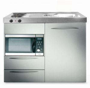 Kitchenette MPMES100 Aluminium 1000 x 600 Réfrigérateur 118 l + micro-ondes + 2 tiroirs + évier 1 ba