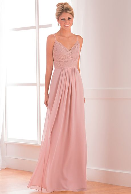 Brides: B2. Flattering and elegant, this bridesmaid dress is versatile enough to fit every occasion. This Poly Chiffon dress has a spaghetti V-neckline, an A-line skirt, and features ruching and lace in the bodice.