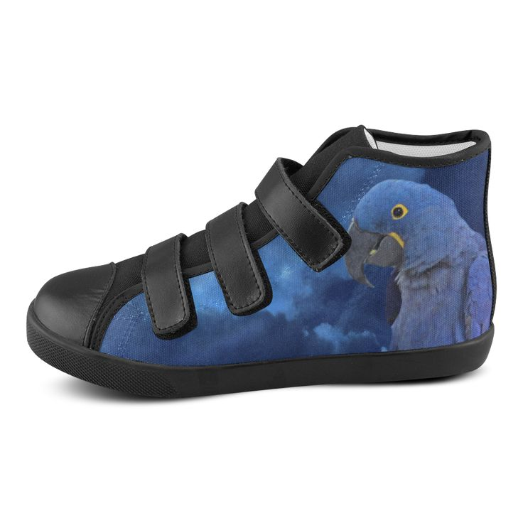 Hyacinth Macaw Velcro High Top Canvas Kid's Shoes
