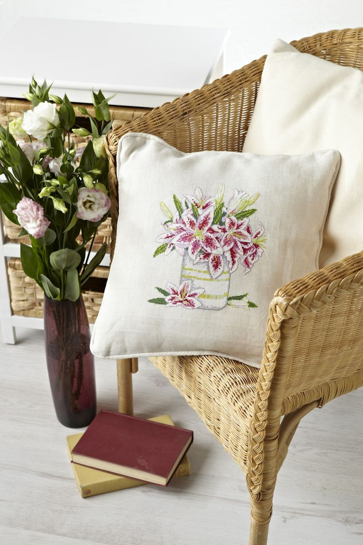 This stunning stargazer lily cushion is a Lesley Teare classic. Get the chart now in the November 228 issue of CSC: http://www.myfavouritemagazines.co.uk/stitch-craft/cross-stitch-collection-magazine-back-issues/cross-stitch-collection-november-13/
