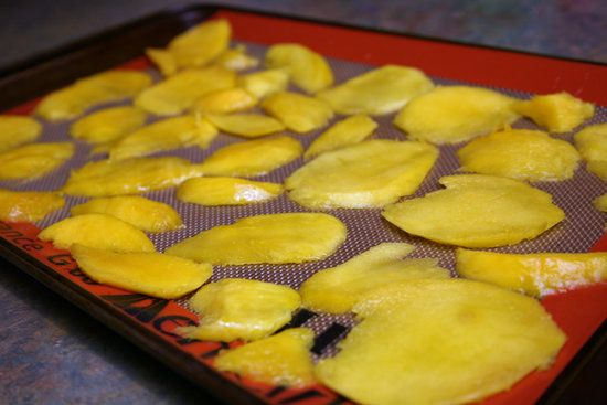 How to Make Dried Mango in oven 2-3 hrs at 185F.