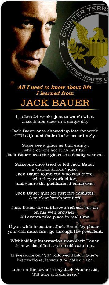"""Jack Bauer 24 Keifer Sutherland 'life' Huge 10"""" Magnet"""