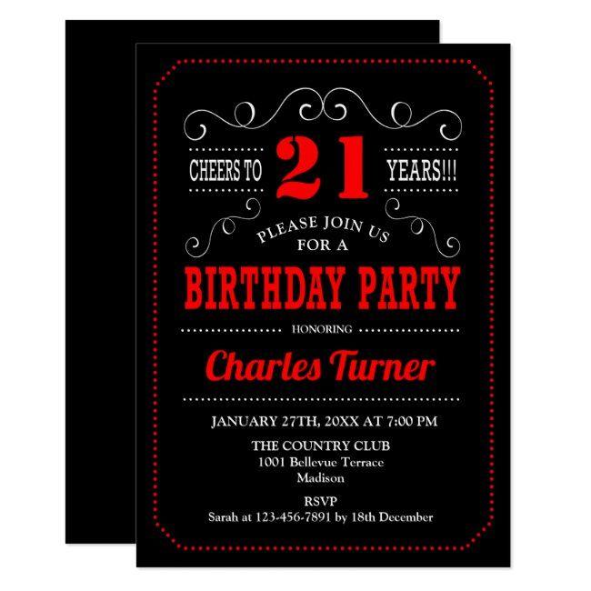 21st Birthday Party Black Red White Invitation Zazzle Com