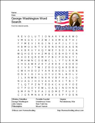11 George Washington Games and Activities for President's Day: George Washington Wordsearch