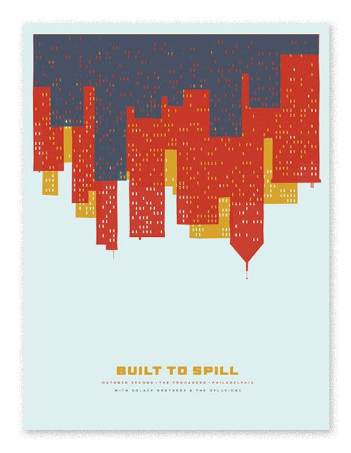 2003 Build to Spill gig poster. 3 color on colored paper.