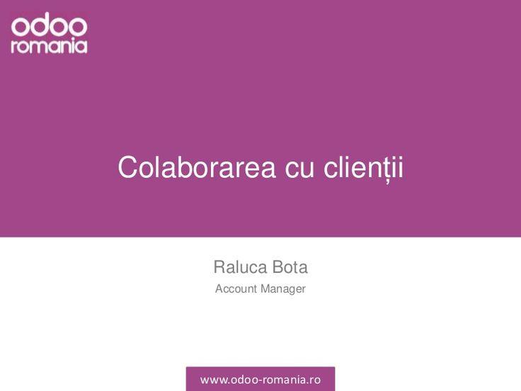 Odoo asigură un mecanism eficient de gestionare a relației cu clienții. Se pot crea oferte, facturi, chitanțe sau se pot gestiona solicitările clienților.