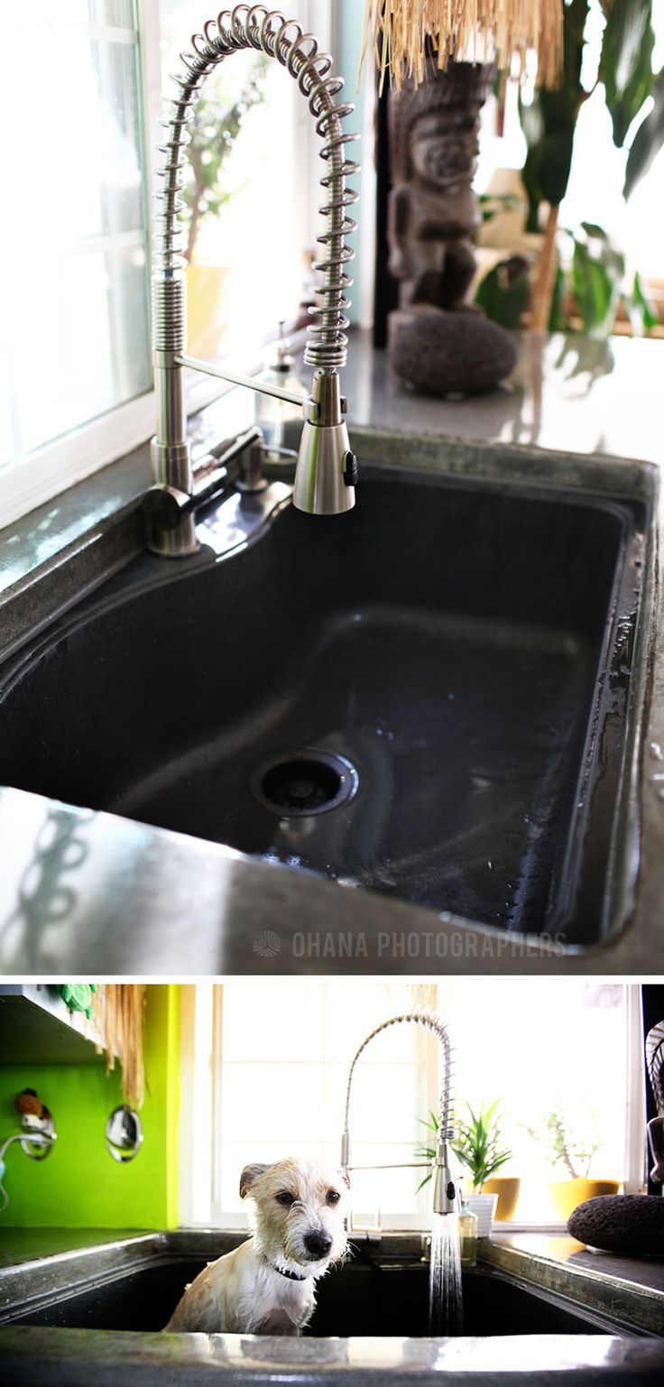 Kitchen sink with matching black glass tap landing and sliding cover - Deep Kitchen Sink Composite Black Granite Sink Franke Another Home