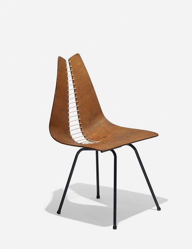Carl Wood Attributed; Walnut Plywood, Enameled Steel, Rope, and Brass Chair, c1955.