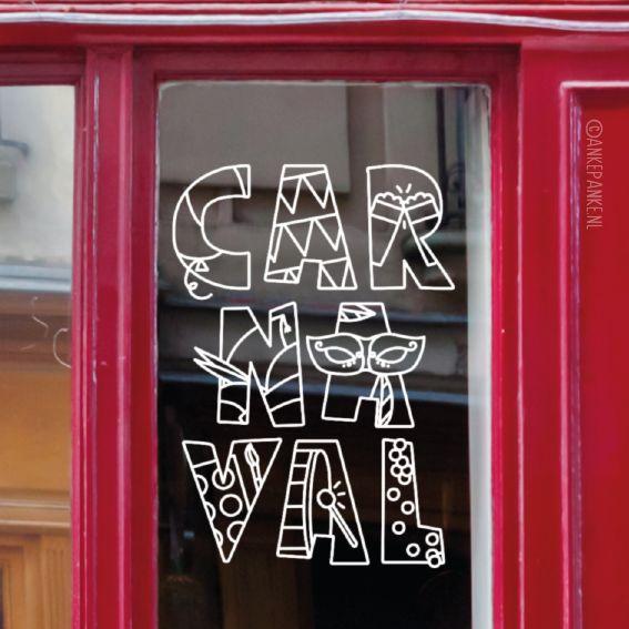 Leuke carnaval letters #raamtekening met toepasselijke illustraties zoals vlaggetjes, confetti en ballonen, biertjes, masker, prinsenmuts, schmink en natuurlijk een trommel.