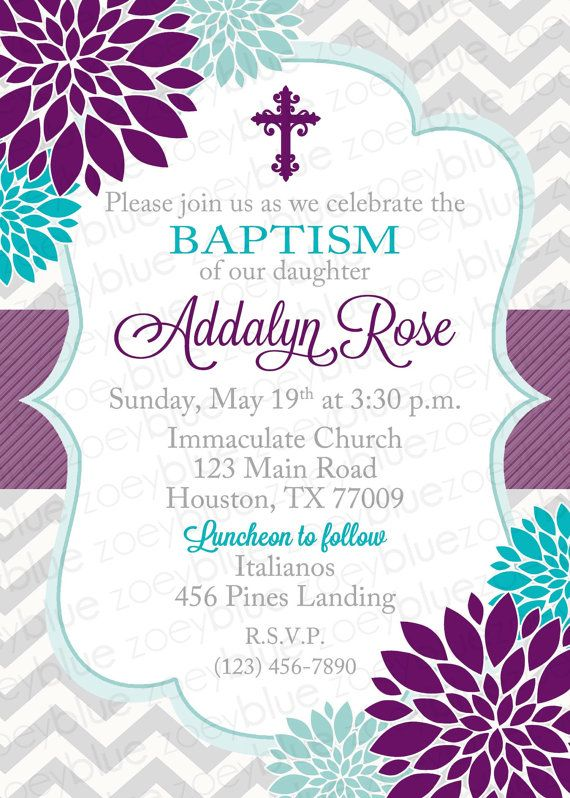 baptism invitation floral purple turquoise girl first communion christening invite confirmation