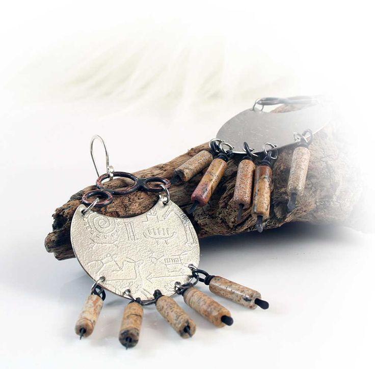Southwestern Chandelier Earrings  Native American Western Style Earthtones Biggs Jasper (39.50 USD) by sundaycreeksupplies - handmade - jewelry - jewellery - artisan ---