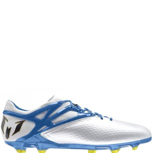8d9d776ea677 adidas Messi 15.1 FG/AG White/Prime Blue/Black Soccer Cleats - model B34359  | Newest Soccer Items | Cleats, Soccer cleats, Football shoes