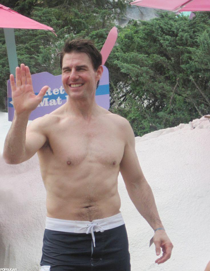 Shirtless Tom Cruise Splashes Around at a Water Park With Suri