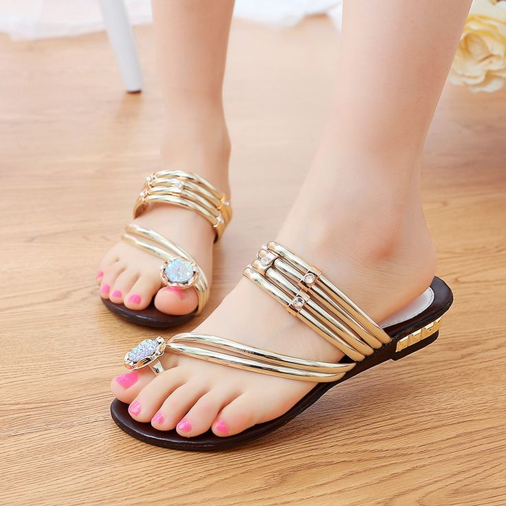 Fashion Bohemia Flip Flops Women Sandals Slipper Gold Rhinestone Flat  Sandals For Women Shoes Summer  Gold       Women Fashion Sandals       Sandal        FlipFlop