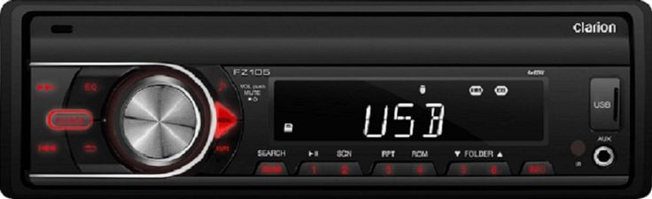 """Clarion FZ105 USB/AUX-IN/SD/MP3/WMA Receiver. 13-Segment, 8-Digit, 1-Line LCD Display Front 3.5mm AUX input Front USB input SD Card Slot 4.5"""" Shallow Chassis. iPod/iPhone Direct control via USB MP3/WMA Playback from USB 4 Channel / 2 Volt Preamp Output High Pass Electronic Crossover Wireless Infrared Remote Control Included. 3 Band Paragraphic Equalizer Rotary Volume Knob Detachable Face Plate OEM Steering Wheel Controller Ready. This is an aftermarket of generic part."""