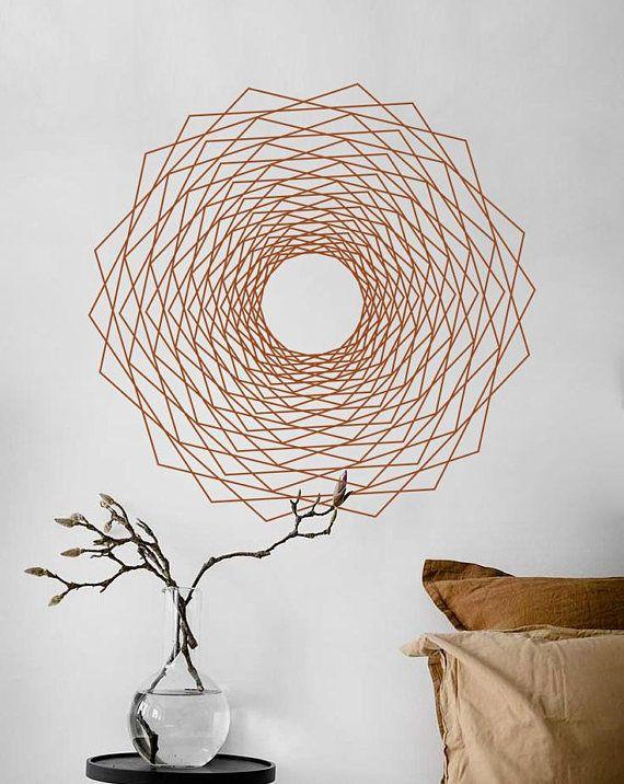 sacred geometry dodeca fractal alchemy geometric wall decal line