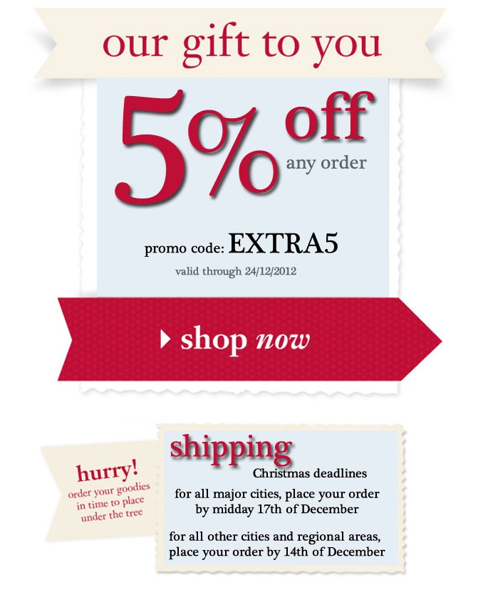 save 5% off your order @thebeautyclub. Enter promo code EXTRA5 at checkout. Hurry, offer ends 24/12/12