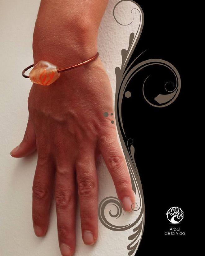 orange Bracciale in rame rosso, misura regoalabile con erla in  vetro e albero della vita dipinto a mano.