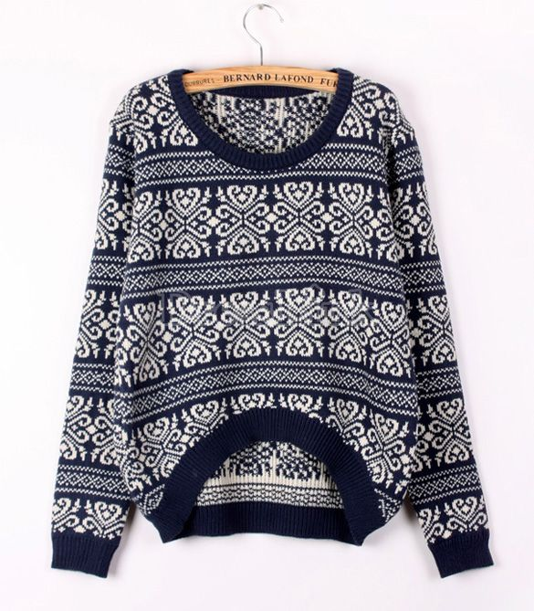 Women's Vintage Knitted Snowflake Sweaters Loose Pullovers-Sweaters / Cardigans  #Dresslink US$10.30