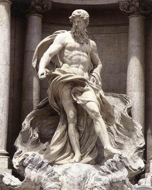 Neptune by Pietro Bracci, after 1759. Piazza di Trevi, Rome.