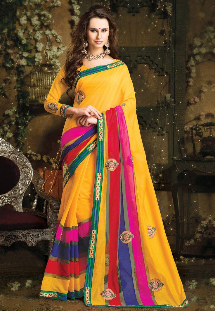 Gold Art Silk Saree with Blouse @ $55.00