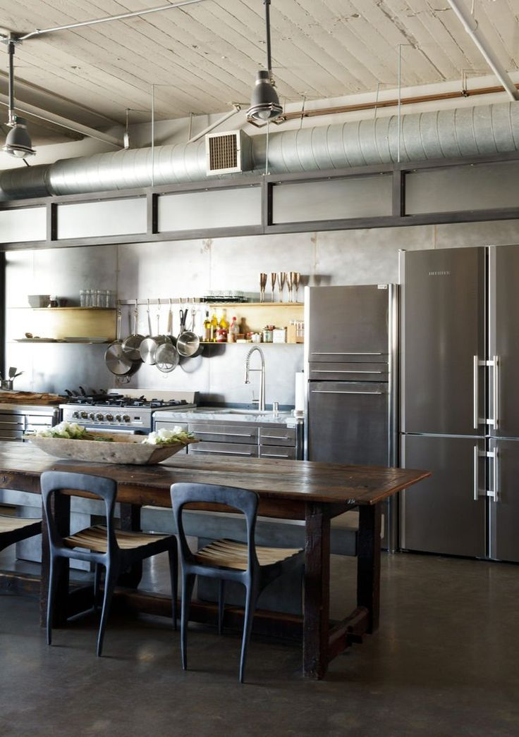 Industrial Style Kitchen With Exposed Ventilation Ducting