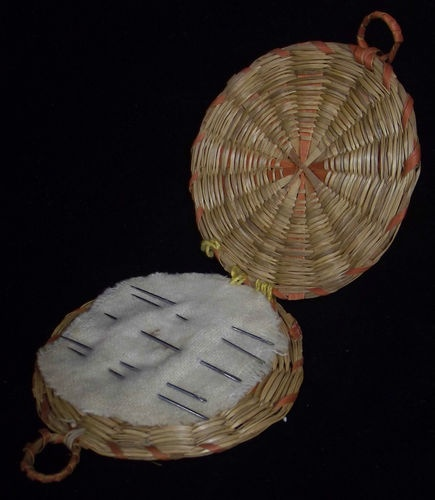 38.00Unusual Antique Native American PENOBSCOT Indian Needle Holder Woven Basket