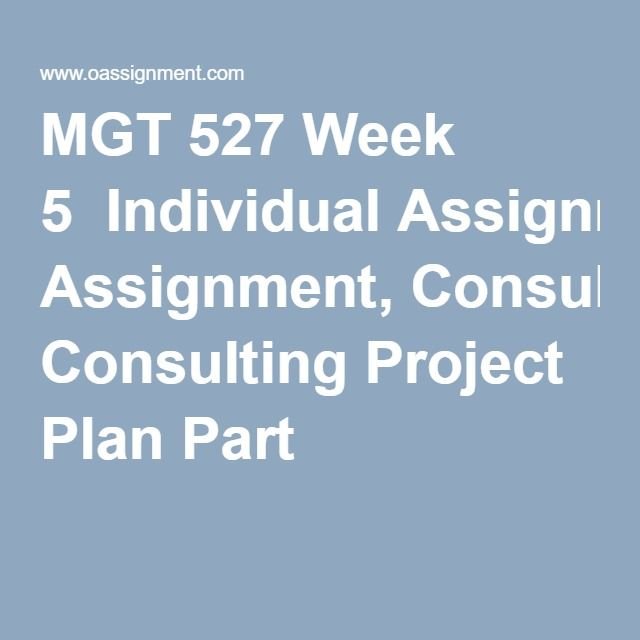 MGT 527 Week 5  Individual Assignment, Consulting Project Plan Part 2