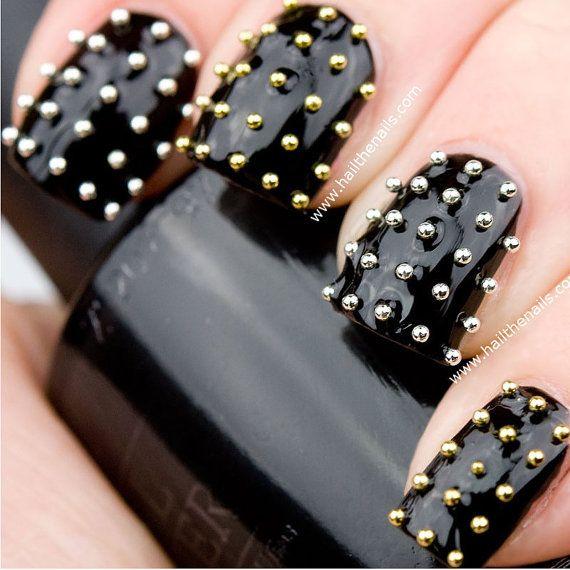 Gold & Silver Metallic Caviar Studs Nail Art - This seasons must have nails.. £2.99, via Etsy.