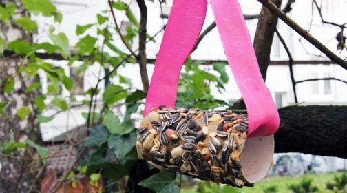 """DIY Vogelfutter: Das benötigst du:      Toilettenpapier-Rollen, Vogelstreufutter (ca. 3 Euro), Erdnussbutter (cremig, ohne Stücke, 2 Euro), etwas Geschenkband oder Kordel. Die komplette Anleitung findest du auf Immonet. Klicke einfach auf den Button """"Besuchen"""" unter dem Bild. Oder klicken Sie hier http://www.immonet.de/service/vogelfutter-basteln.html #immonet hat die Tipps"""
