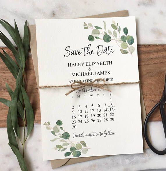 Grün speichern Sie die Datum-Karte, rustikale Hochzeit Ankündigung Karte