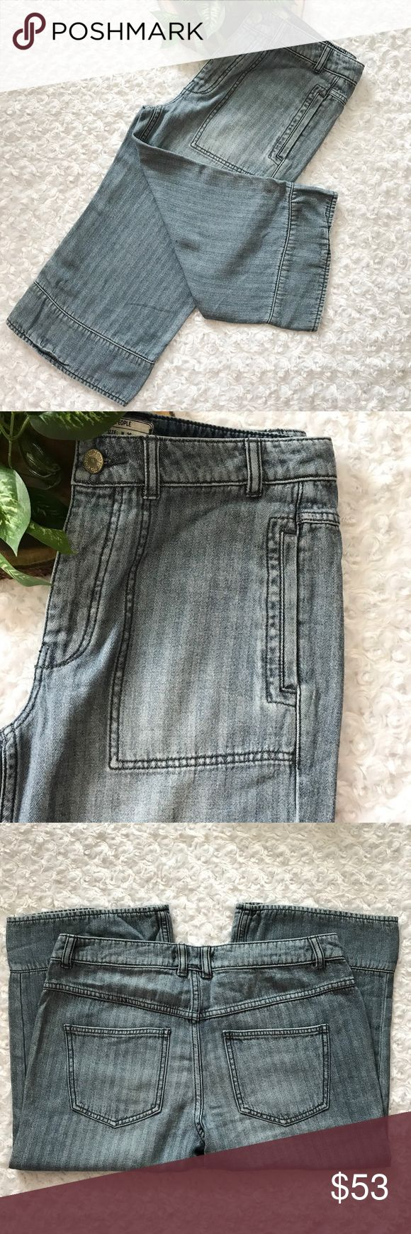 NEW Free People Stripe Denim Capri Jeans NEW Free People Light Blue Stripe Denim Capri Cropped Jeans. Button fly. NWOT. Size 26.  Pet and smoke free home. No Trades! Bundle and save! Inquire below with questions! Thanks for looking, sharing, and saving. Free People Jeans Ankle & Cropped