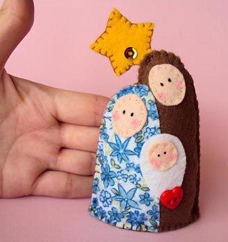 One piece, felt nativity Mini presépio em feltro costurado