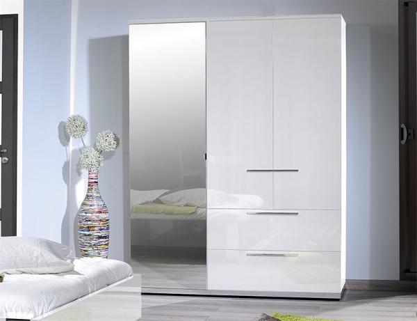 Sciae Sunrise Contemporary High Gloss White Wardrobe