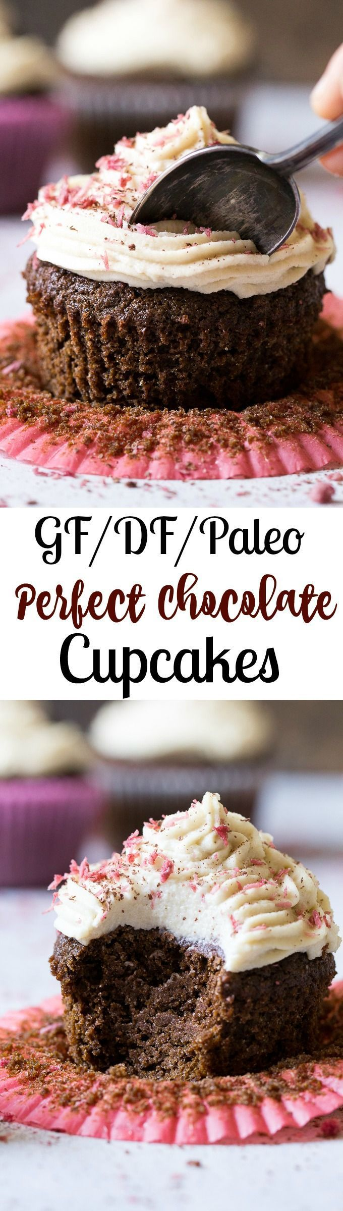 Paleo Chocolate Cupcakes topped with coconut cashew cream cheese frosting and pink coconut sprinkles! Gluten-free, dairy-free