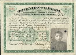 Type of source; photograph this is a photograph of a certificate that a Chinese immigrant would receive after paying the head tax of 500 hundred dollars. Since Canadians were xenophobic from war, they were hesitant to allows foreigners in. They were only allowed for business or school. in 1923 Chinese immigrants were prevented from coming into Canada, this was known as humiliation day