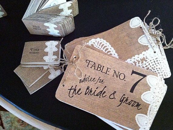 Burlap & Lace Printable Wedding Placecards and Advice for the Bride and Groom Books Table No. 1-10