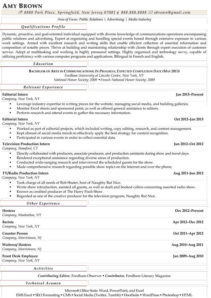 arts and entertainment resume professional writers