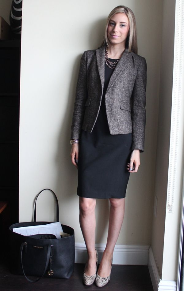 Ann Taylor tweed jacket, Theory Betty dress, Corso Como snake pumps, LBD