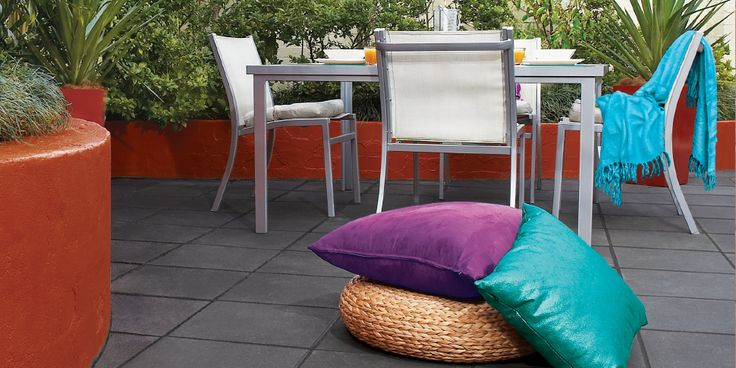 It's easy to create your own stunning outdoor area with Esplanade pavers in Charcoal and jewel tones.
