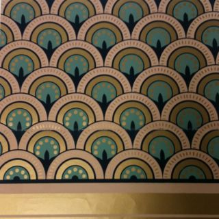 Handprinted Art Deco wallpaper.