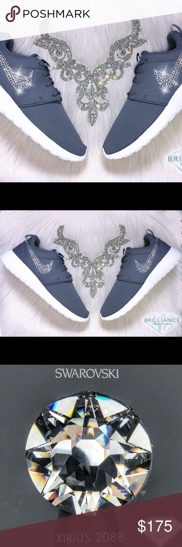 Swarovski Nike Roshe One Grey - Bling Nike Shoes Authentic New Women's Nike Roshe One Shoes in Cool Grey!  Outer Logos Are Customized With HUNDREDS Of The Most Expensive SWAROVSKI® Crystals In The World- In ALL Different Sizes. Our Crystals Feature X-Cut Technology For Diamond-Like Brilliance And Shine.  Brand new in original box, purchased directly from an authorized Nike retailer.  Crystals have been applied with industrial strength glue. Will never come off.   For better pricing and more…