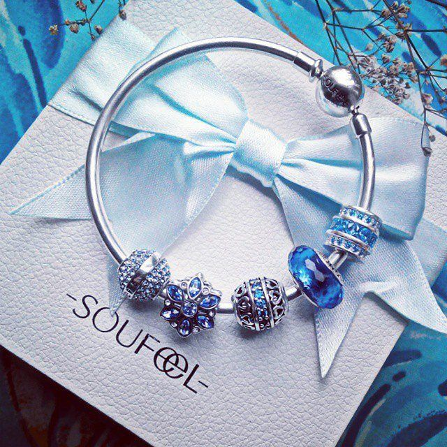 SOUFEEL Colors in The Sky Charm Bracelet 925 Sterling Silver,subtle blue feels so elegant .Wish everyone can live a happy life.