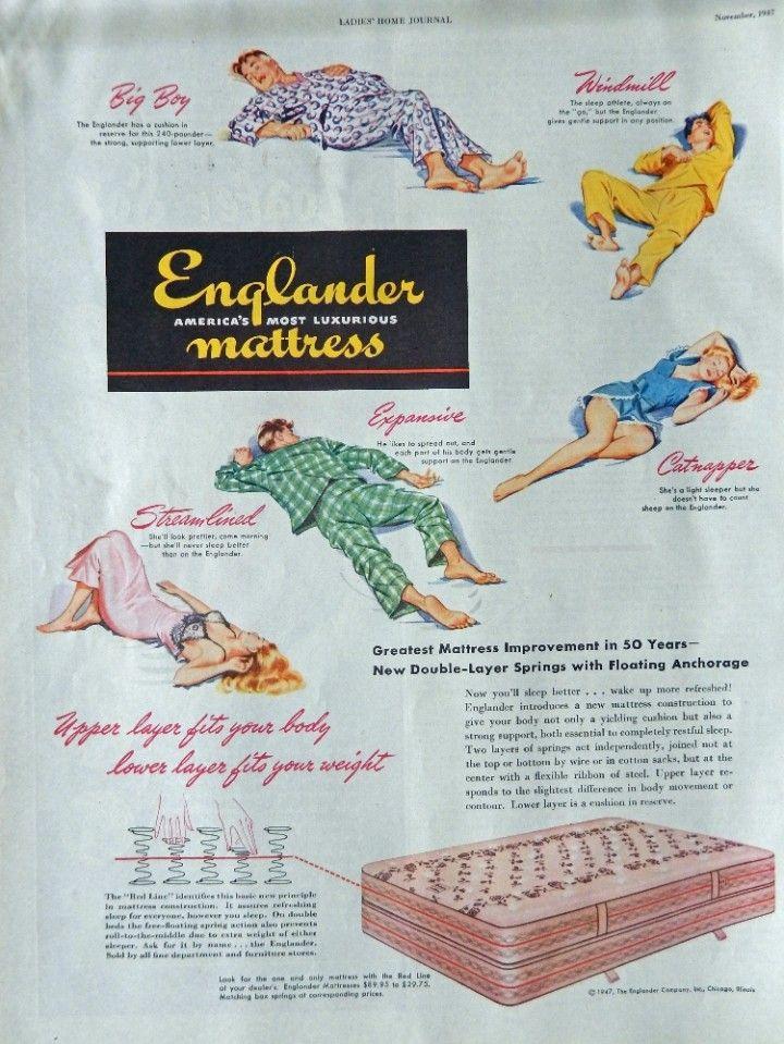 Englander Mattress  Vintage Print Ad  40 s Color Illustration  catnapper  Vintage  Magazine Art