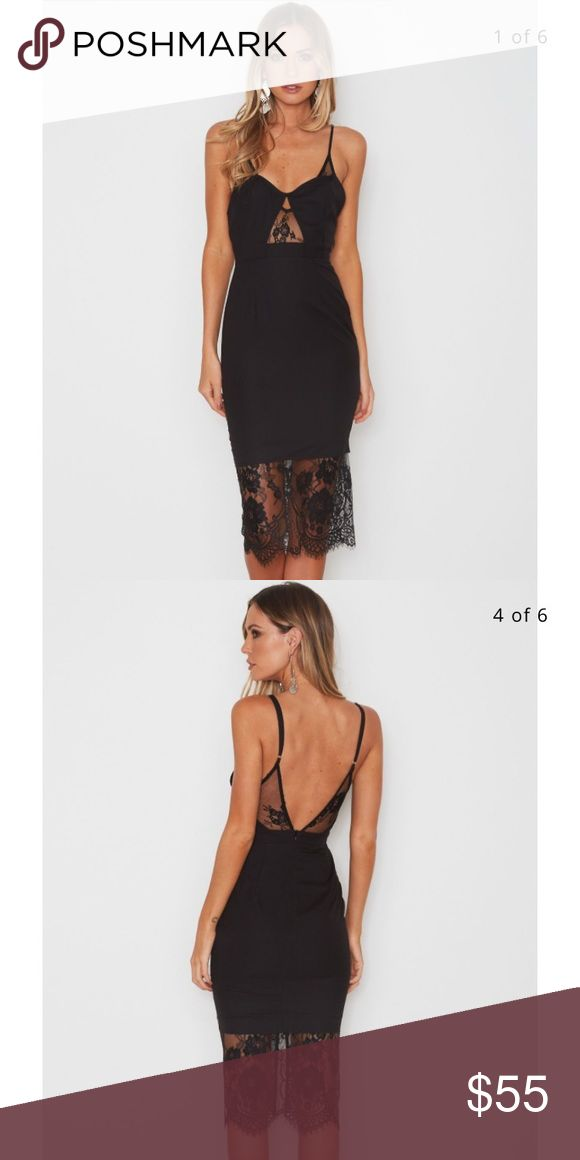 Black dress from White fox boutique Australia Pretty little black dress with lace detail. Never worn. Runaway Dresses Midi