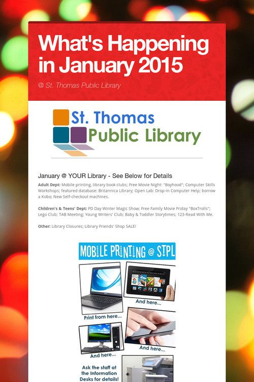 What's Happening in January 2015 @ St. Thomas Public Library